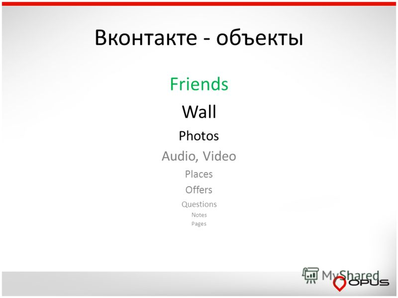 Вконтакте - объекты Friends Wall Photos Audio, Video Places Offers Questions Notes Pages