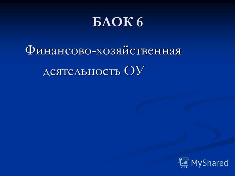 БЛОК 6 Финансово-хозяйственная Финансово-хозяйственная деятельность ОУ деятельность ОУ