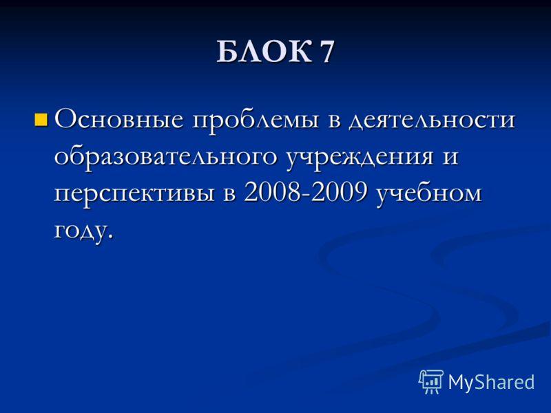 БЛОК 7 Основные проблемы в деятельности образовательного учреждения и перспективы в 2008-2009 учебном году. Основные проблемы в деятельности образовательного учреждения и перспективы в 2008-2009 учебном году.
