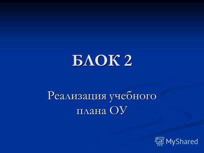 БЛОК 2 Реализация учебного плана ОУ