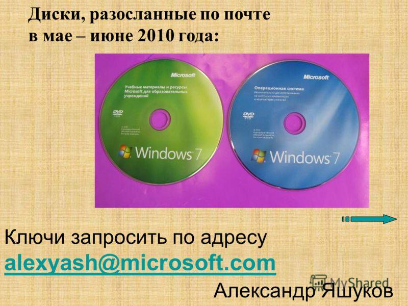 Ключи запросить по адресу alexyash@microsoft.com Александр Яшуков alexyash@microsoft.com Диски, разосланные по почте в мае – июне 2010 года: