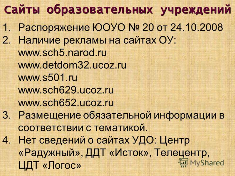 Сайты образовательных учреждений 1.Распоряжение ЮОУО 20 от 24.10.2008 2.Наличие рекламы на сайтах ОУ: www.sch5.narod.ru www.detdom32.ucoz.ru www.s501.ru www.sch629.ucoz.ru www.sch652.ucoz.ru 3.Размещение обязательной информации в соответствии с темат