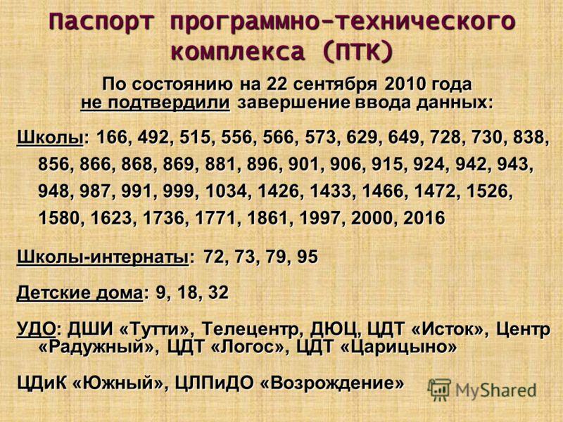Паспорт программно-технического комплекса (ПТК) По состоянию на 22 сентября 2010 года не подтвердили завершение ввода данных: Школы: 166, 492, 515, 556, 566, 573, 629, 649, 728, 730, 838, 856, 866, 868, 869, 881, 896, 901, 906, 915, 924, 942, 943, 94