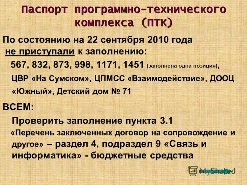 Паспорт программно-технического комплекса (ПТК) По состоянию на 22 сентября 2010 года не приступали к заполнению: 567, 832, 873, 998, 1171, 1451 (заполнена одна позиция), ЦВР «На Сумском», ЦПМСС «Взаимодействие», ДООЦ «Южный», Детский дом 71 ВСЕМ: Пр