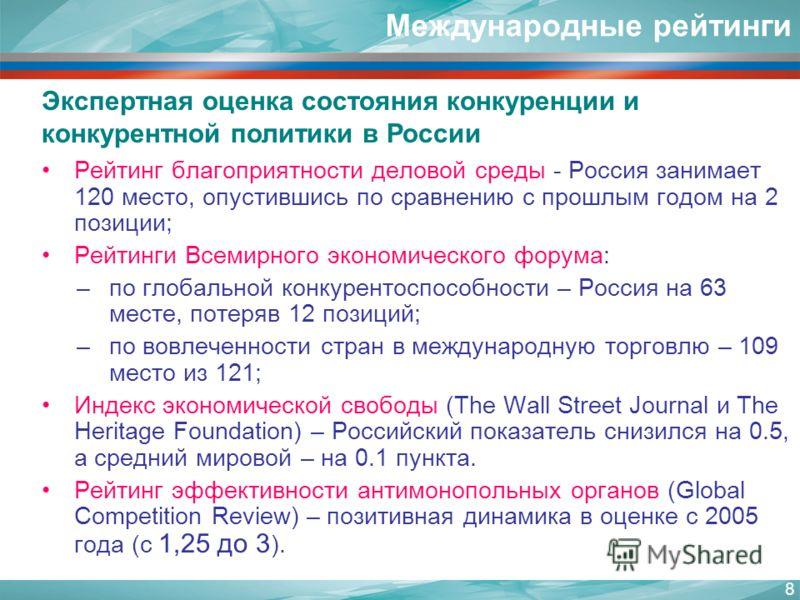 Международные рейтинги Рейтинг благоприятности деловой среды - Россия занимает 120 место, опустившись по сравнению с прошлым годом на 2 позиции; Рейтинги Всемирного экономического форума: –по глобальной конкурентоспособности – Россия на 63 месте, пот