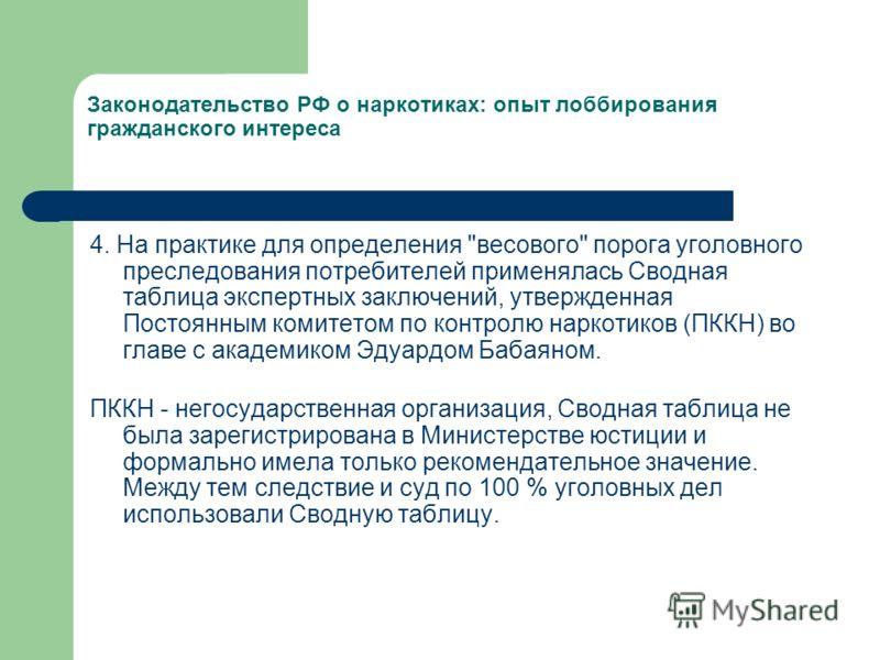 Законодательство РФ о наркотиках: опыт лоббирования гражданского интереса 4. На практике для определения