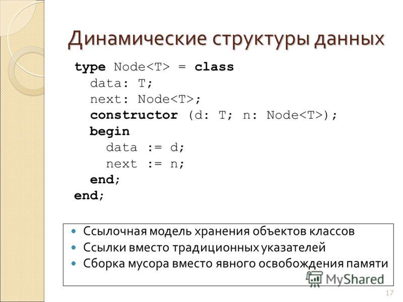 Динамические структуры данных 17 Ссылочная модель хранения объектов классов Ссылки вместо традиционных указателей Сборка мусора вместо явного освобождения памяти type Node = class data: T; next: Node ; constructor (d: T; n: Node ); begin data := d; n