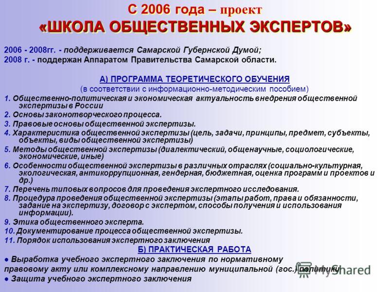 «ШКОЛА ОБЩЕСТВЕННЫХ ЭКСПЕРТОВ» С 2006 года – проект «ШКОЛА ОБЩЕСТВЕННЫХ ЭКСПЕРТОВ» 2006 - 2008гг. - поддерживается Самарской Губернской Думой; 2008 г. - поддержан Аппаратом Правительства Самарской области. А) ПРОГРАММА ТЕОРЕТИЧЕСКОГО ОБУЧЕНИЯ (в соот