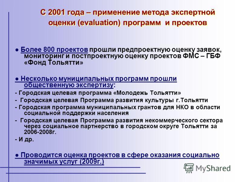 Более 800 проектов прошли предпроектную оценку заявок, мониторинг и постпроектную оценку проектов ФМС – ГБФ «Фонд Тольятти» Несколько муниципальных программ прошли общественную экспертизу: - Городская целевая программа «Молодежь Тольятти» - Городская