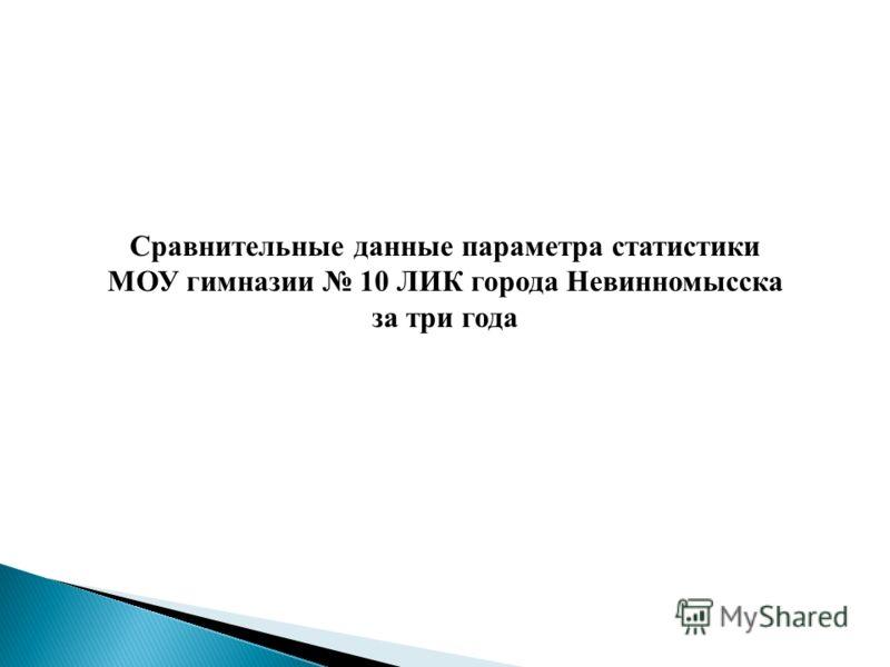 Сравнительные данные параметра статистики МОУ гимназии 10 ЛИК города Невинномысска за три года