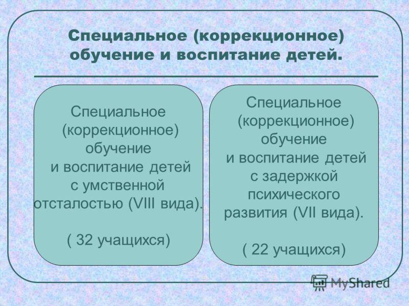 Специальное (коррекционное) обучение и воспитание детей. Специальное (коррекционное) обучение и воспитание детей с умственной отсталостью (VIII вида). ( 32 учащихся) Специальное (коррекционное) обучение и воспитание детей с задержкой психического раз