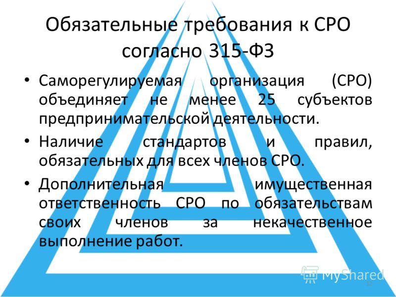 Обязательные требования к СРО согласно 315-ФЗ Саморегулируемая организация (СРО) объединяет не менее 25 субъектов предпринимательской деятельности. Наличие стандартов и правил, обязательных для всех членов СРО. Дополнительная имущественная ответствен