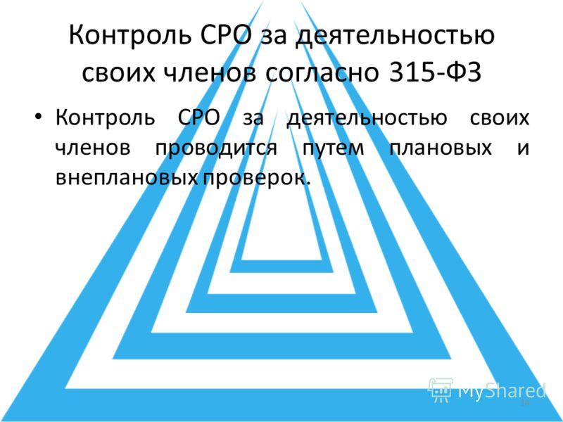 Контроль СРО за деятельностью своих членов согласно 315-ФЗ Контроль СРО за деятельностью своих членов проводится путем плановых и внеплановых проверок. 14