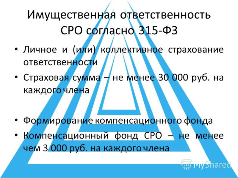 Имущественная ответственность СРО согласно 315-ФЗ Личное и (или) коллективное страхование ответственности Страховая сумма – не менее 30 000 руб. на каждого члена Формирование компенсационного фонда Компенсационный фонд СРО – не менее чем 3 000 руб. н