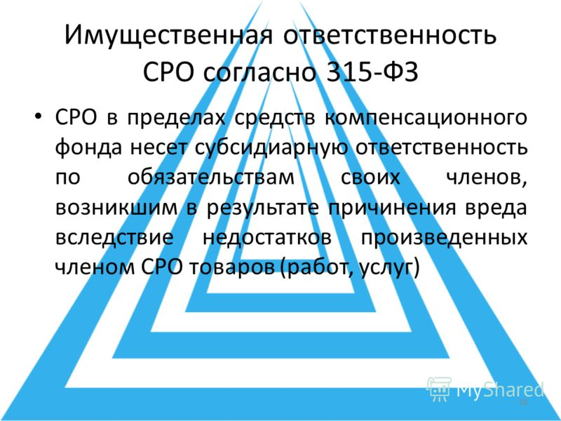 Имущественная ответственность СРО согласно 315-ФЗ СРО в пределах средств компенсационного фонда несет субсидиарную ответственность по обязательствам своих членов, возникшим в результате причинения вреда вследствие недостатков произведенных членом СРО