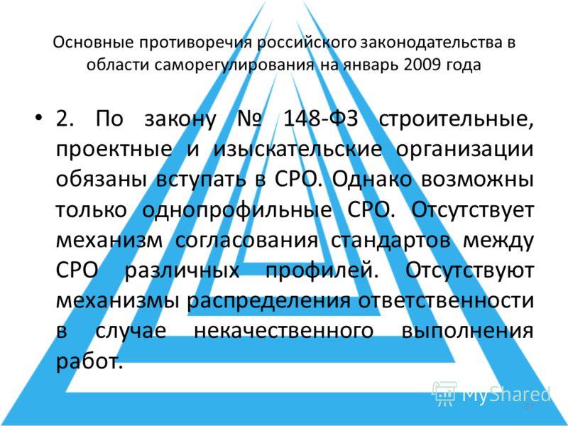 Основные противоречия российского законодательства в области саморегулирования на январь 2009 года 2. По закону 148-ФЗ строительные, проектные и изыскательские организации обязаны вступать в СРО. Однако возможны только однопрофильные СРО. Отсутствует