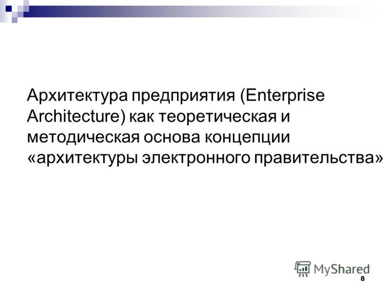 8 Архитектура предприятия (Enterprise Architecture) как теоретическая и методическая основа концепции «архитектуры электронного правительства»