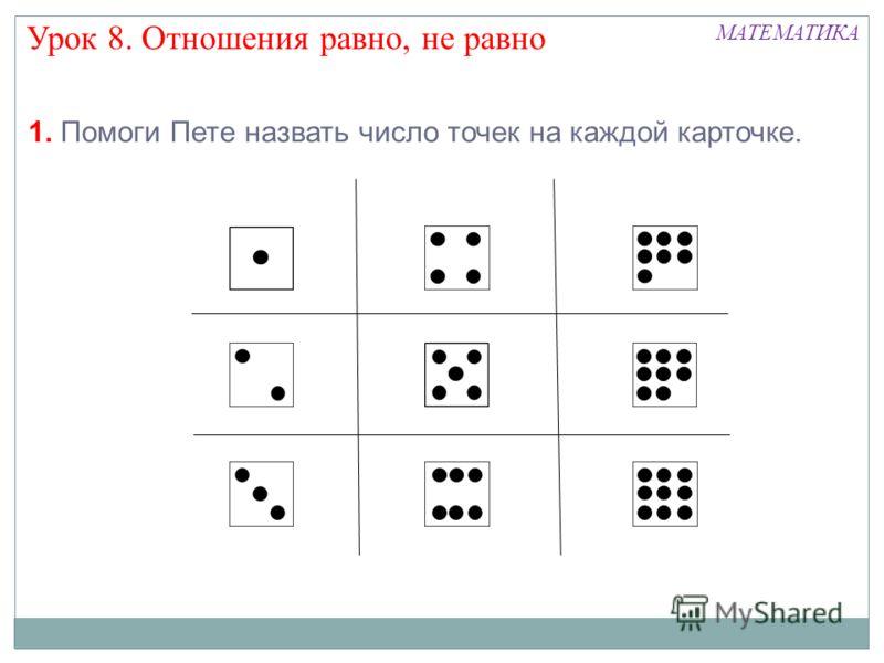1. Помоги Пете назвать число точек на каждой карточке. Урок 8. Отношения равно, не равно МАТЕМАТИКА