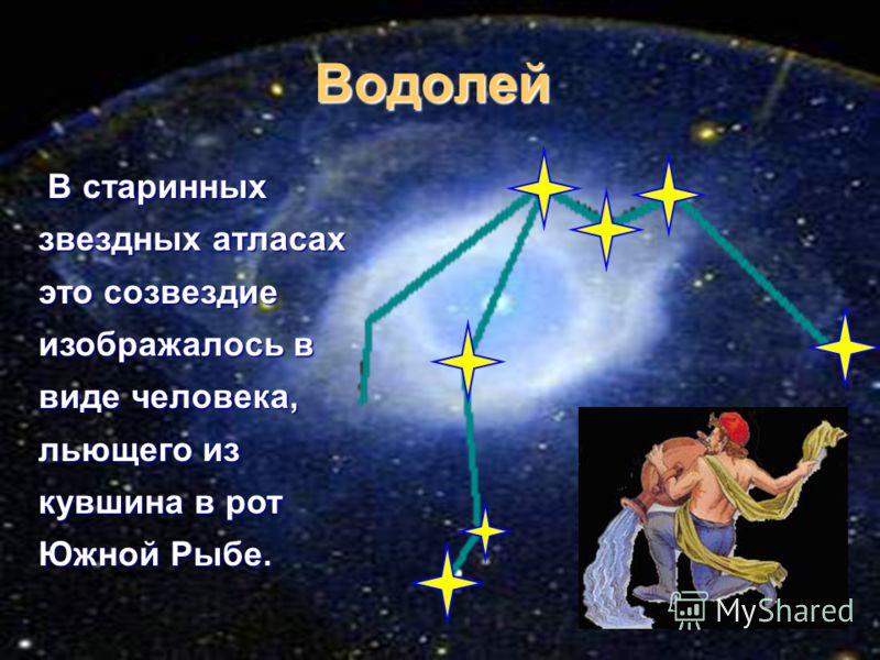 Водолей В ВВ В старинных звездных атласах это созвездие изображалось в виде человека, льющего из кувшина в рот Южной Рыбе.
