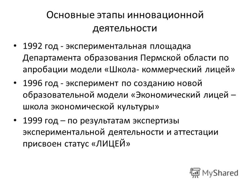 Основные этапы инновационной деятельности 1992 год - экспериментальная площадка Департамента образования Пермской области по апробации модели «Школа- коммерческий лицей» 1996 год - эксперимент по созданию новой образовательной модели «Экономический л