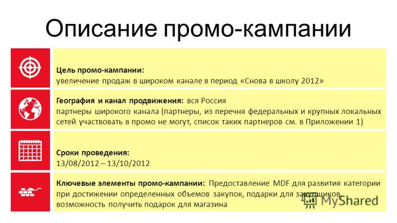 Описание промо-кампании Цель промо-кампании: увеличение продаж в широком канале в период «Снова в школу 2012» География и канал продвижения: вся Россия партнеры широкого канала (партнеры, из перечня федеральных и крупных локальных сетей участвовать в