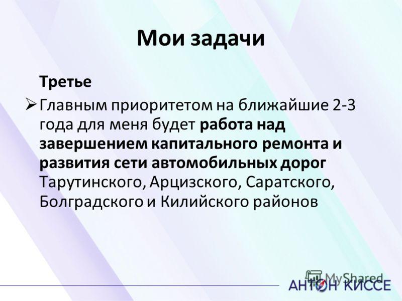 Мои задачи Третье Главным приоритетом на ближайшие 2-3 года для меня будет работа над завершением капитального ремонта и развития сети автомобильных дорог Тарутинского, Арцизского, Саратского, Болградского и Килийского районов