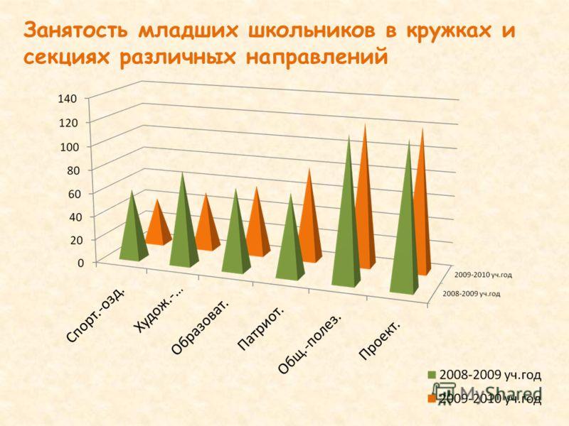 Занятость младших школьников в кружках и секциях различных направлений