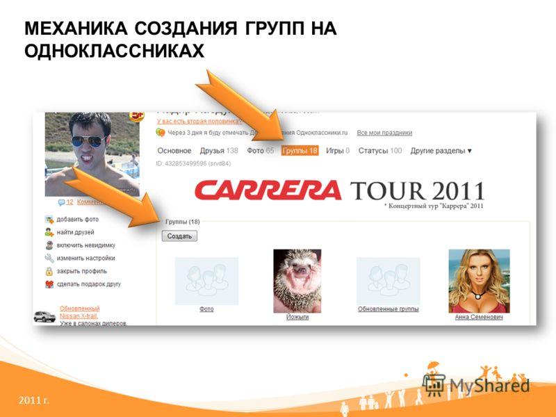 2011 г. МЕХАНИКА СОЗДАНИЯ ГРУПП НА ОДНОКЛАССНИКАХ