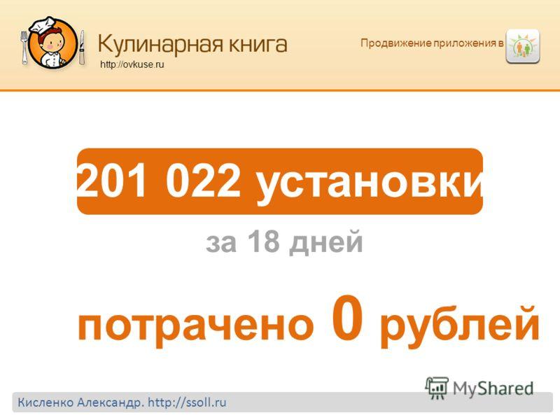 Продвижение приложения в http://ovkuse.ru 201 022 установки потрачено 0 рублей за 18 дней Кисленко Александр. http://ssoll.ru