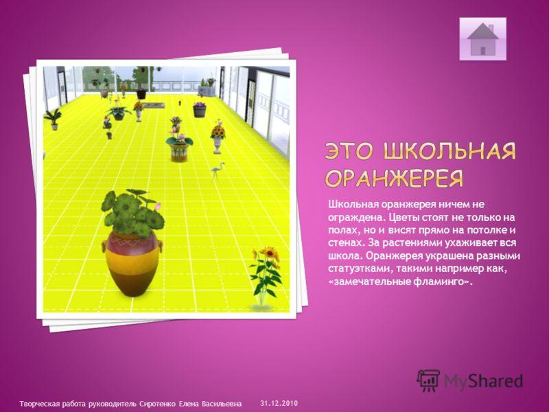 Школьная оранжерея ничем не ограждена. Цветы стоят не только на полах, но и висят прямо на потолке и стенах. За растениями ухаживает вся школа. Оранжерея украшена разными статуэтками, такими например как, «замечательные фламинго». 31.12.2010 Творческ