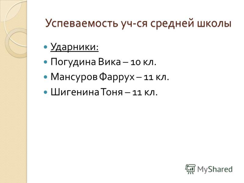 Успеваемость уч - ся средней школы Ударники : Погудина Вика – 10 кл. Мансуров Фаррух – 11 кл. Шигенина Тоня – 11 кл.