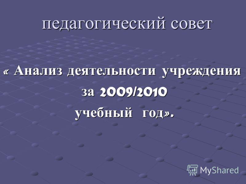 педагогический совет « Анализ деятельности учреждения за 2009/2010 за 2009/2010 учебный год ». учебный год ».