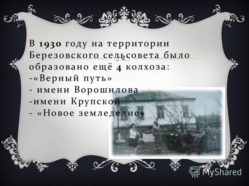 В 1930 году на территории Березовского сельсовета было образовано ещё 4 колхоза : -« Верный путь » - имени Ворошилова - имени Крупской - « Новое земледелие »