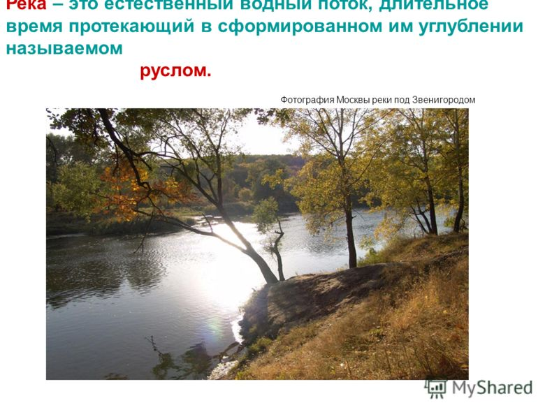 Река – это естественный водный поток, длительное время протекающий в сформированном им углублении называемом руслом. Фотография Москвы реки под Звенигородом