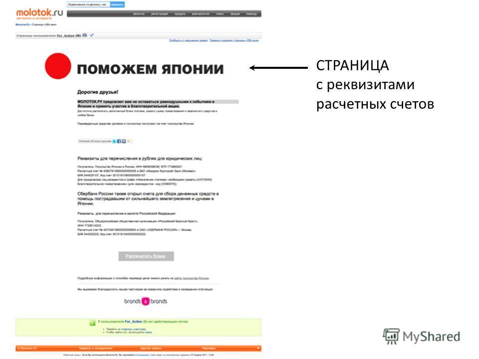 СТРАНИЦА с реквизитами расчетных счетов
