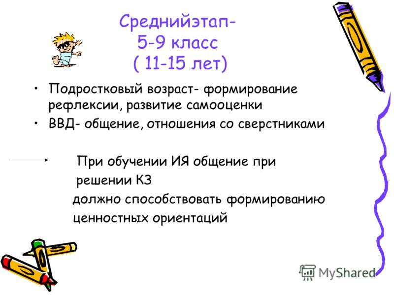 Среднийэтап- 5-9 класс ( 11-15 лет) Подростковый возраст- формирование рефлексии, развитие самооценки ВВД- общение, отношения со сверстниками При обучении ИЯ общение при решении КЗ должно способствовать формированию ценностных ориентаций