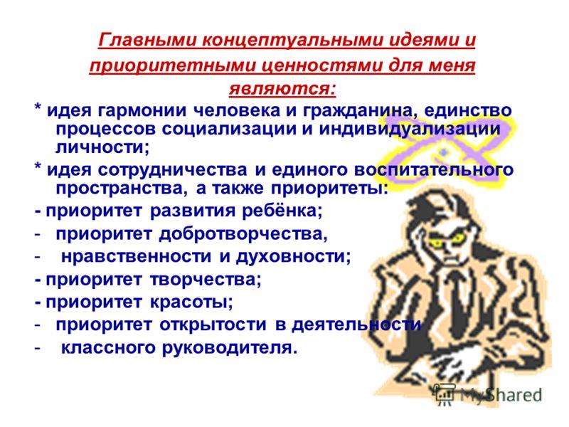 Главными концептуальными идеями и приоритетными ценностями для меня являются: * идея гармонии человека и гражданина, единство процессов социализации и индивидуализации личности; * идея сотрудничества и единого воспитательного пространства, а также пр