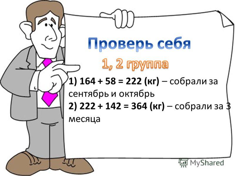 1) 164 + 58 = 222 (кг) – собрали за сентябрь и октябрь 2) 222 + 142 = 364 (кг) – собрали за 3 месяца