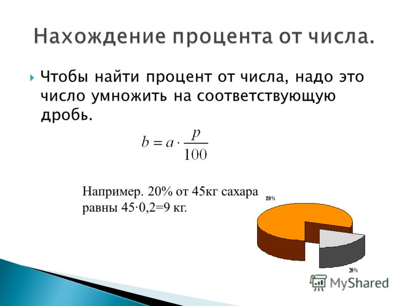 Чтобы найти процент от числа, надо это число умножить на соответствующую дробь. Например. 20% от 45кг сахара равны 45·0,2=9 кг.