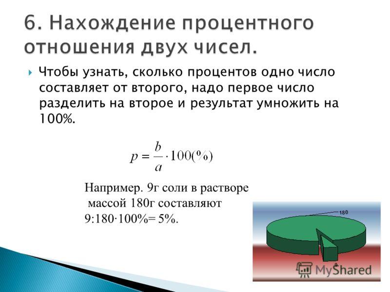 Чтобы узнать, сколько процентов одно число составляет от второго, надо первое число разделить на второе и результат умножить на 100%. Например. 9г соли в растворе массой 180г составляют 9:180·100%= 5%.