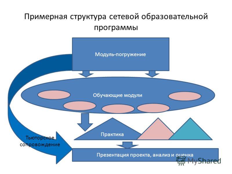 Примерная структура сетевой образовательной программы Модуль-погружение Обучающие модули Практика Презентация проекта, анализ и оценка Тьюторское сопровождение