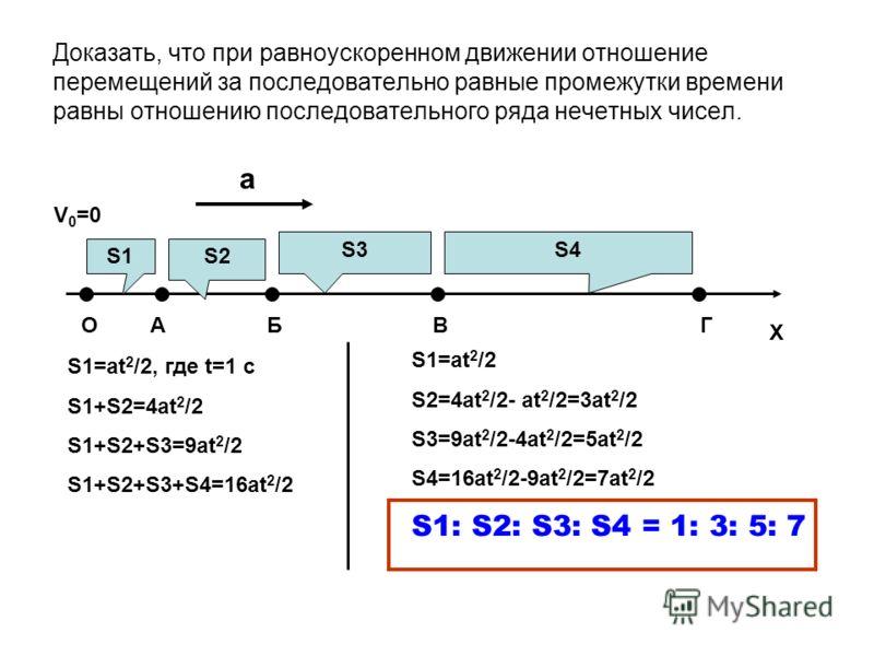 Доказать, что при равноускоренном движении отношение перемещений за последовательно равные промежутки времени равны отношению последовательного ряда нечетных чисел. ОАБВГ V 0 =0 X a S1 S2 S3 S4 S1=at 2 /2, где t=1 c S1+S2=4at 2 /2 S1+S2+S3=9at 2 /2 S
