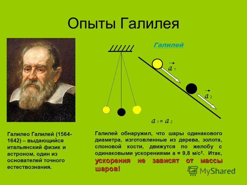 Опыты Галилея Галилео Галилей (1564- 1642) – выдающийся итальянский физик и астроном, один из основателей точного естествознания. Галилей а 2 а 1 а 1 = а 2 ускорения не зависят от массы шаров! Галилей обнаружил, что шары одинакового диаметра, изготов