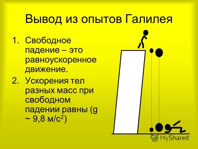 Вывод из опытов Галилея 1.Свободное падение – это равноускоренное движение. 2.Ускорения тел разных масс при свободном падении равны (g ~ 9,8 м/с 2 )