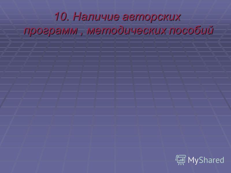 10. Наличие авторских программ, методических пособий