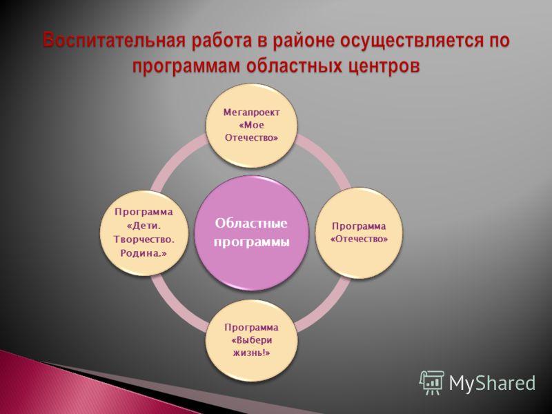 Областные программы Мегапроект «Мое Отечество» Программа «Отечество» Программа «Выбери жизнь!» Программа «Дети. Творчество. Родина.»