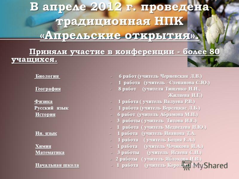 В апреле 2012 г. проведена традиционная НПК «Апрельские открытия». Приняли участие в конференции - более 80 учащихся. Приняли участие в конференции - более 80 учащихся. Биология - 6 работ (учитель Черневская Л.В.) Биология - 6 работ (учитель Черневск