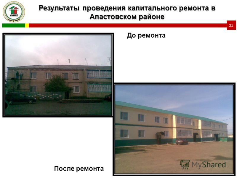 Результаты проведения капитального ремонта в Апастовском районе 21 До ремонта После ремонта