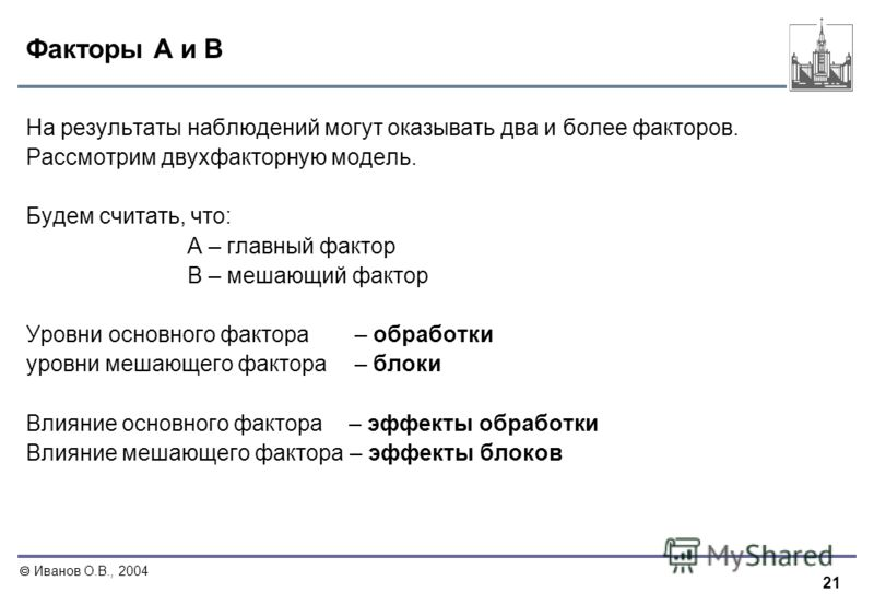 21 Иванов О.В., 2004 Факторы A и B На результаты наблюдений могут оказывать два и более факторов. Рассмотрим двухфакторную модель. Будем считать, что: A – главный фактор B – мешающий фактор Уровни основного фактора – обработки уровни мешающего фактор
