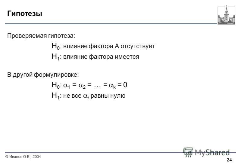 24 Иванов О.В., 2004 Гипотезы Проверяемая гипотеза: H 0 : влияние фактора A отсутствует H 1 : влияние фактора имеется В другой формулировке: H 0 : 1 = 2 = … = k = 0 H 1 : не все i равны нулю